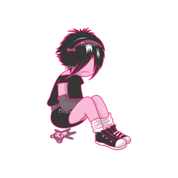 Emo Kids Pack 1 4 Preview Clip Art - SVG & PNG vector