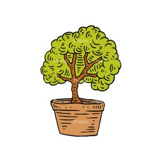 Engraved Garden Vector Set 1 Vector Trees Clip Art - SVG & PNG vector