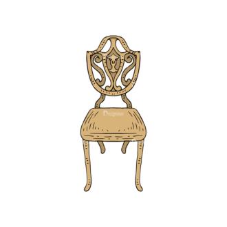 Engraved Vintage Furniture Vector Set 1 Vector Chair 03 Clip Art - SVG & PNG vector
