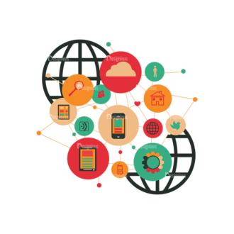 Flat Mobile Devices Concept Set 1 Vector Infographics Clip Art - SVG & PNG vector