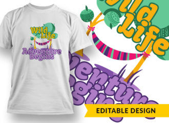 Wild Life, Adventure Begins T-shirt Designs and Templates tree
