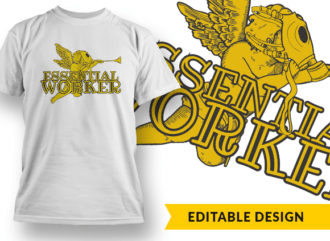 Essential Worker T-shirt Designs and Templates vector