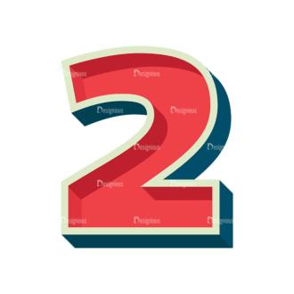 Retro Alphabet Set 7 Vector Number 29 Clip Art - SVG & PNG vector
