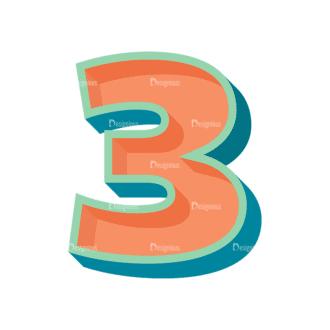 Retro Alphabet Set 7 Vector Number 30 Clip Art - SVG & PNG vector