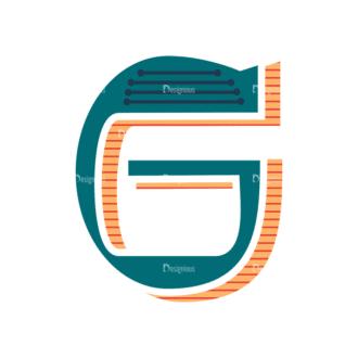 Retro Alphabet Set 8 Vector Alphabet 07 Clip Art - SVG & PNG vector