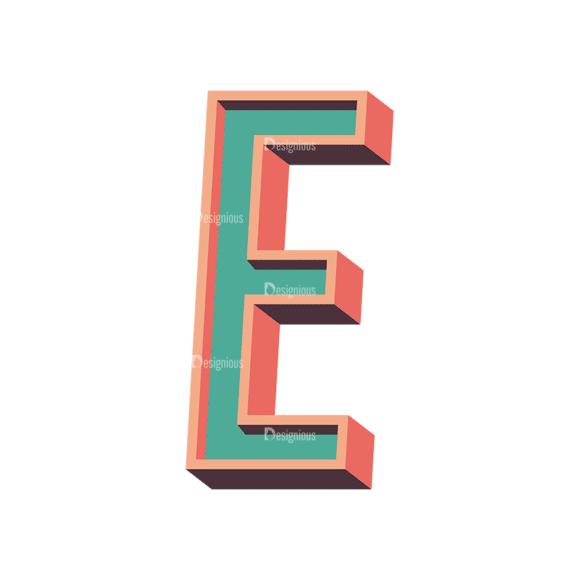 Vector Retro Alphabet Vector E Clip Art - SVG & PNG vector