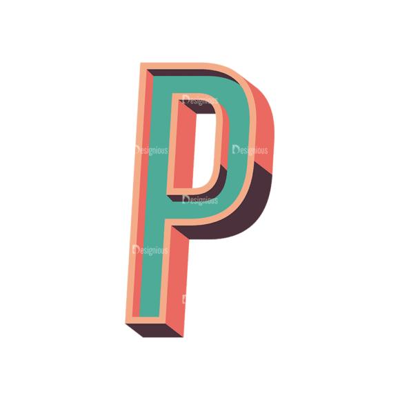 Vector Retro Alphabet Vector P Clip Art - SVG & PNG vector