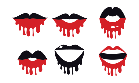 18 Dripping Lips Face Mask Designs Vector packs vector