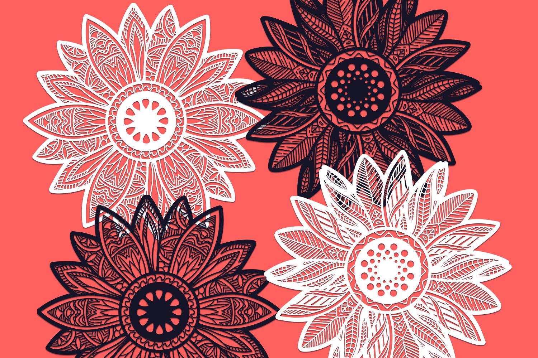 24 Zentangle Sunflowers SVG Cut Files - Designious